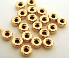 50pcs 3mm Yellow 14k gold filled seamless donut roundel bead spacer shiny GB33