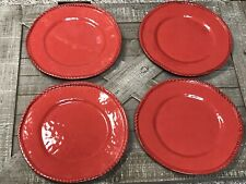 Pottery Barn Melamine Plates Set Of 4 Red Euc