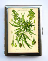 Vintage Cannabis Botanical Cigarette Case Wallet Business Card Holder
