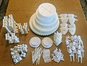 VINTAGE LOT WILTON WEDDING CAKE SEPARATOR PLATES CHERUB GRECIAN PILLAR 150 PC +