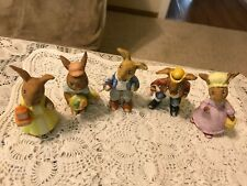 """Lot of 5 ~ Vintage Easter Bunny ~ 3-4"""" Hand Painted Ceramic Figurines ~ Japan"""