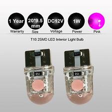 Pair Car Bright Purple Pink LED Silica T10 W5W Wedge Side Light Bulb Lamp DC 12V