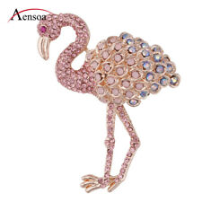 Fashion Women Alloy Enamel Crystal Pink Flamingo Animal Brooch Pin Jewelry Gift
