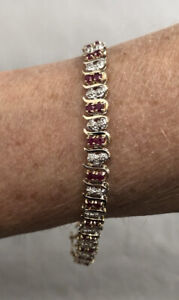 Awesome Estate 10K YG Natural Ruby & Diamond Double Ladies Tennis Line Bracelet