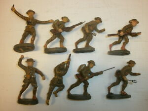 Convolute 8 Old Hausser Elastolin Ground Troops To 3in Englishman Fighting