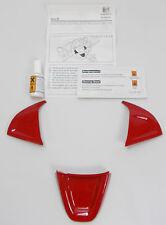 NEW GENUINE SEAT IBIZA 6J RED ACCESSORY STEERING WHEEL 3 PIECE TRIM KIT