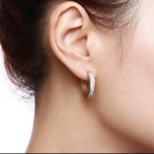 Stainless Steel Solid Women's Diamond 20mm Hoop Earrings