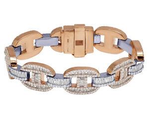 Mens Rose/ White Gold Real Diamond Baguette Mariner Link Bracelet 17MM 16.55CT