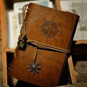 Christmas gift LEATHER COVER NOTE BOOK WITH VINTAGE STYLE PAPERS AND CLIPS