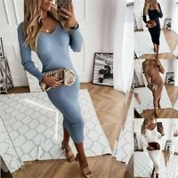 Women Sexy Slim Solid Pencil Dress Lady Long Sleeve V Neck Casual Party Dresses