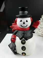 Vintage Christmas 1950's Frosty Snowman Light Lantern Button Night Light Holiday