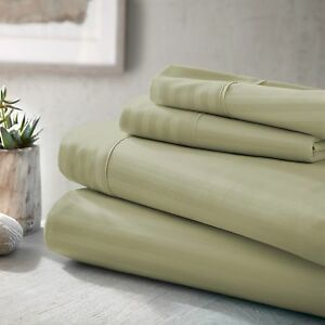 Dobby Stripe Bed Sheet Set by The Feathered Nest - Extra Deep Pocket, Ultra Soft