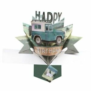 Birthday 3D Pop Up Card Land Rover Jeep - Second Nature Dad Brother Son Friend