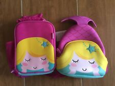 Amooze Pink Purple 3D Mermaid Backpack Cooler Insulated Lunch Bag School Set NEW