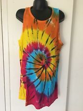 Kids Tie-Dyed Unisex Singlet Rainbow /Black Swirl 8-10yrs Great for Christmas
