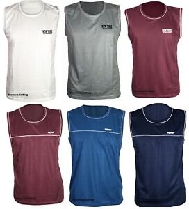 Mens Branded Vest Sleeveless Tank Top Side Trim Tipping Cotton Gym Summer