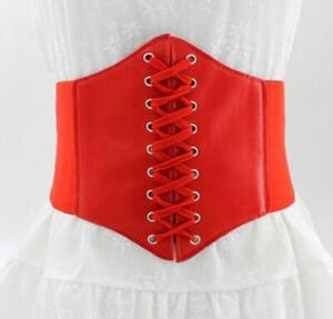 RED Womens Vintage Stretchy Faux Leather Wide Waist Belt Corset All Red