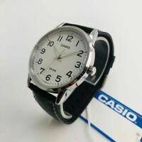 Men's Casio White Dial Black Leather Band Watch MTP1303L-7B