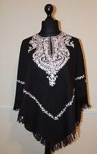 Kashmir Poncho Black with White - New - India - Ethnic (item xp28)