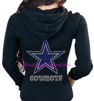 Dallas Cowboys Jersey Rhinestone Bling Zipper Hoodie Sweater