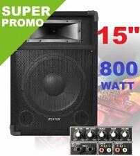 "CASSA AMPLIFICATA ATTIVA diffusore 800W WOOFER 38 CM (15"") KARAOKE DJ"