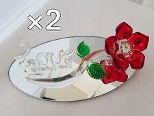 2 Elegant Long Stem Red Glass Rose & Love Crystal Flower Home Decor Heart FR619R
