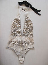 Victoria's Secret Dream Angels Lace High Neck Halter Bodysuit White & Black M