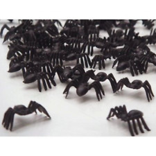 50 SMALL BLACK PLASTIC SPIDERS HALLOWEEN