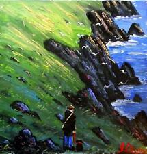 Original BEST Oil Painting Noted Artist James Downie : Out on the Cliffs