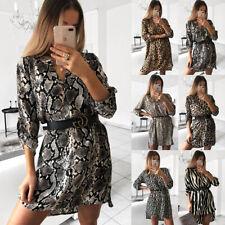 Womens Leopard Snake Print Shirt Dress Ladies Sexy Everning Party Clubwear Dress