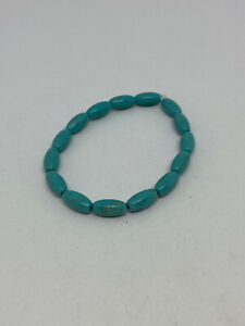 Natural Turquoise Gemstone Rice Beaded Stretch Bracelet