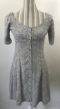 Flynn Skye Nyla Mini Floral Boho Short Sleeve Dress Black Button Grunge 90s SZ M