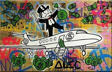 "Alec Monopoly Amazing HD print on Canvas Urban art Wall PJ Airplane 24x32"""