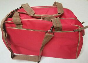 Canvas Duffle Bag NWOT Red Adjustable Shoulder Strap Double Handles
