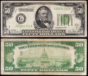 """Nice 1928 A $50 CHICAGO """"Gold on Demand Clause"""" FRN Note! FREE SHIP! G02691731A"""