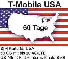 t-Mobile USA Prepaid SIM mit 50 GB 4G/LTE + int. Tel. für 60 Tage