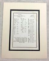 1821 Antico Stampa Antico Fenicia Alfabeto Ebraico Script Vecchio Incisione