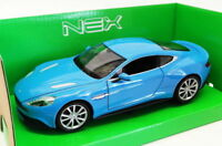 Welly 1/24-27 Scale Model Car 24046W - Aston Martin Vanquish - Blue