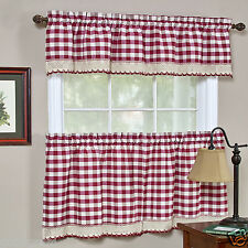 Buffalo Check Gingham Custom Window Curtain Treatments - Assorted Colors & Sizes