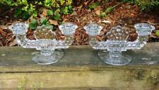 """PAIR of FOSTORIA AMERICAN CRYSTAL 4.5"""" T x 8.75"""" W DOUBLE FLAT FOOT CANDLESTICKS"""