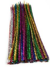 25pk TINSEL PIPE CLEANERS MULTI COLOURED