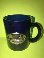 Genuine ~ USS Ronald Reagan CVN-76 Cobalt Blue Pewter Emblem Logo Coffee Mug