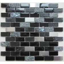 Mosaic Glass Stone Chrome Black Bathroom Kitchen Shower Interlock Tiles 30x30cm