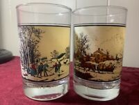 Set of 2 Vintage Currier & Ives 1981 Arby's Collector's Winter Glasses