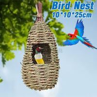 Hand-Woven Pet Bird Nest Hut Cage Feeder Parrot Parakeet Toy House Natural  B