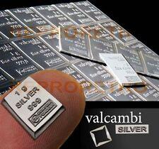 SOLID SILVER BULLION .999 Fine Silver Valcambi 1gram Investment Bar - UK Seller