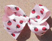 Personalized Embroidered Ladybugs Red Black Pink Boutique Girl's Hair Bow