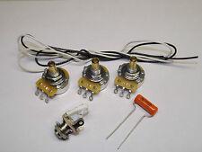 Jazz Bass Guitar Wiring Kit CTS 250K Solid Shaft Pots Orange Drop .047uf Cap