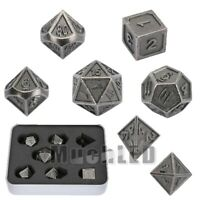 7Pcs Antique Metal Polyhedral Dice For DND RPG MTG Role Playing Board Game US