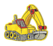 """Backhoe- Excavator - Truck - Contractor - Yellow - Iron On Patch - 2.5""""High"""
